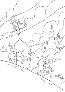 coloring page Bambi follows his father