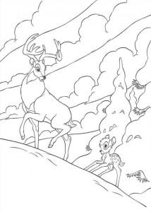 målarbok Bambi följer sin far