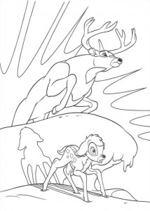 coloring page Bambi is saved