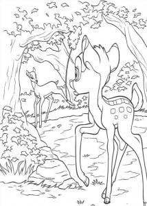 coloring page Bambi sees Mena in the fall