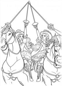 kleurplaat Barbie en de drie musketiers (15)