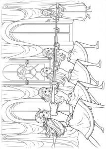 kleurplaat Barbie en de drie musketiers (6)