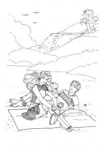 pagina da colorare Barbie e Ken in vacanza