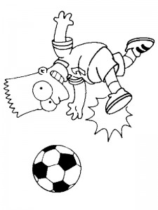 coloring page Bart is playing football