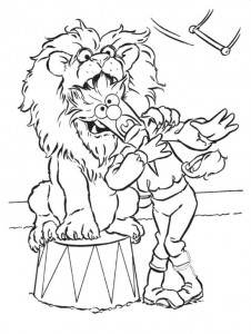 kleurplaat Beaker als leeuwentemmer