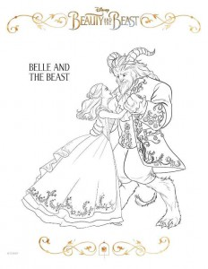 kleurplaat beauty-and-the-beast-coloring-sheet