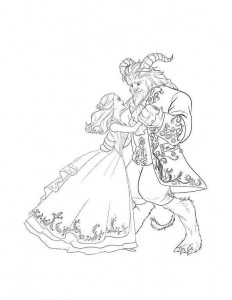 coloring page beauty and the beast