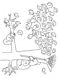 coloring page Buried under the trees