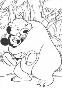 coloring page Bear hugs Mickey