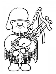 coloring page bear plays bagpipes