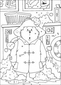 målarbok Paddington Bear tvättar