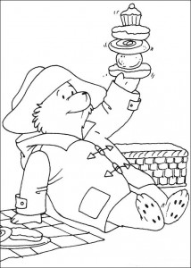 målarbok Paddington Bear har bakverk