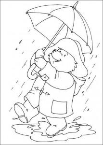 målarbok Paddington Bear i regnet