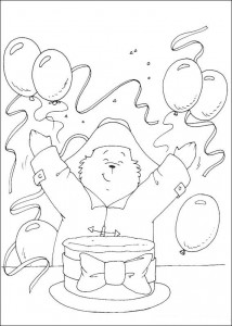 coloring page Bursdag til Paddington Bear