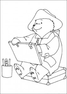 coloring page Paddington Bear draws