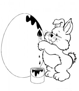 coloring page Bear paints egg