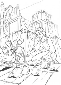Dibujo para colorear Belle and the Beast (2)