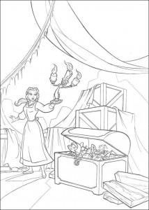 kleurplaat Belle en het Beest (3)