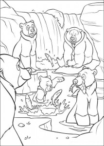 coloring page Bears catch fish