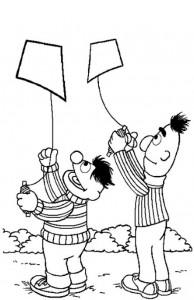 kleurplaat Bert en Ernie aan het vliegeren