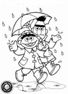Dibujo para colorear Bert y Ernie, bajo la lluvia