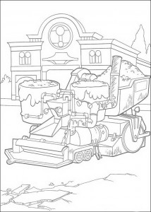coloring page Bessie, the asphalting machine