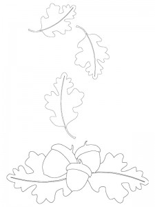 coloring page Leaves and acorns