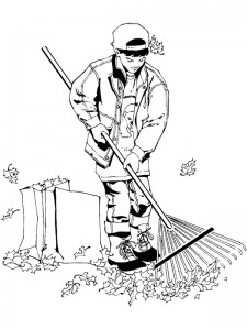 Coloring page Leaves raking (1)