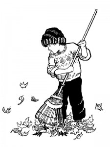 Målarblad Leaves raking (2)