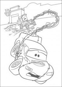 coloring page Lightning McQueen in the barbed wire