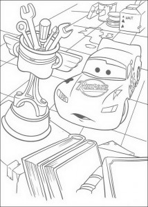 coloring page Lightning thinks the Piston Cup