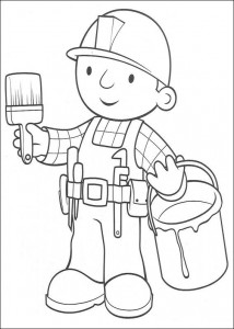 coloring page Bob the Builder is going to paint