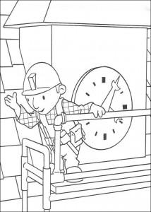 kleurplaat Bob de Bouwer repareert de klok