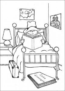 coloring page Reading book in bed