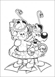 coloring page Bollie and Billie go swimming