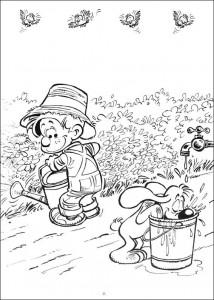 målarbok Bollie och Billie trädgårdsarbete