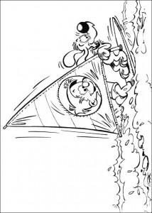 kleurplaat Bollie en Billie windsurfen