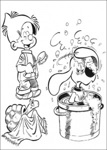 coloring page Bollie puts Billie in the bath