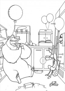 Coloring page Bow and Elliot eat shop empty