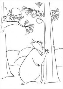 målarbok Bow har en kamp med ekorrar