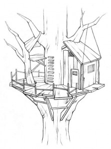 coloring page Tree houses (2)