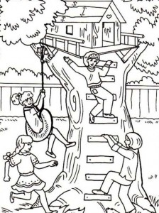 coloring page Tree houses (4)