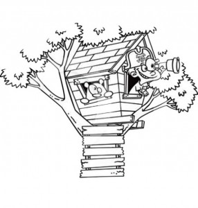 coloring page Tree houses