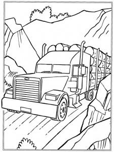 kleurplaat Boomstammen vervoer