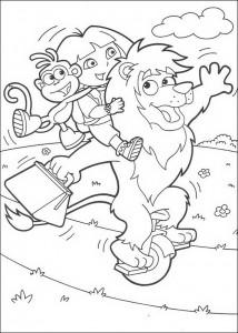 kleurplaat Boots, Dora en Leon