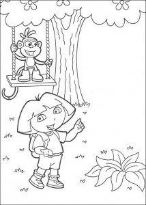 coloring page Boots on the swing