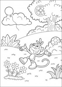 coloring page Boots plays with balon
