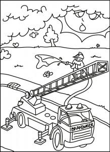 kleurplaat Brandweer in actie