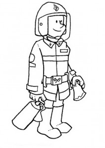 coloring page Fireman in equipment
