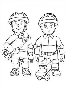 kleurplaat Brandweerman Sam (5)